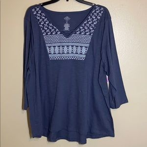 WOMENS Plus size Blue 3/4 sleeve Blouse